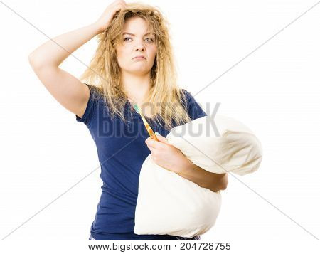Sleepy Woman Hugging White Pillow