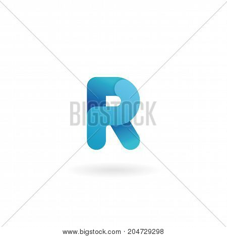 Letter R Logo. Blue Vector Icon. Ribbon Styled Font.