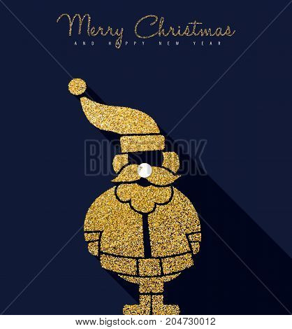 Christmas And New Year Gold Glitter Santa Claus