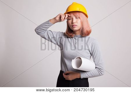 Tried Asian Engineer Woman With Blueprints.