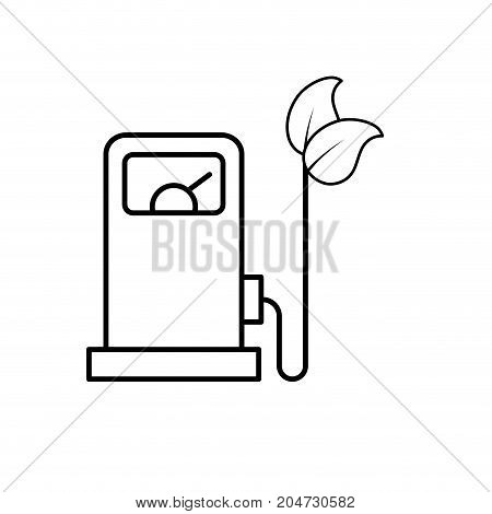 line gas machine and cable with leaves to environment care vector illustration