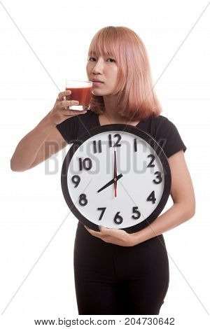 Young Asian Woman With Tomato Juice And Clock.