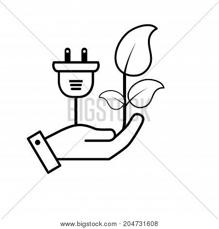 line hand with ecology power cable with natural leaves vector illustration