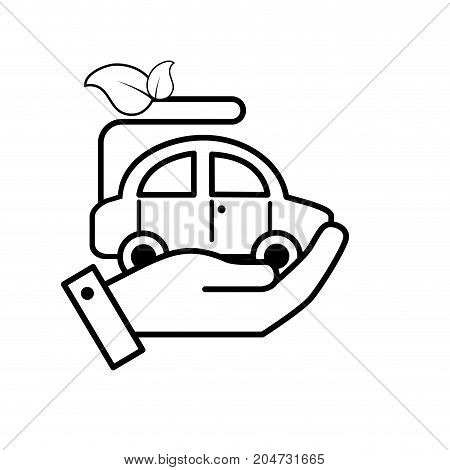 line hand with ecologycal car with leaves to environment care vector illustration