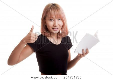 Young Asian Woman Thumbs Up With A Book.