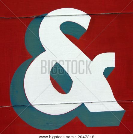 Hand Painted Ampersand On Wood