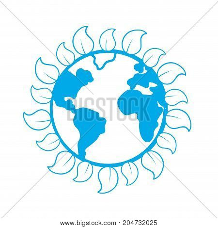 silhouette earth planet with ecological leaves design vector illustration