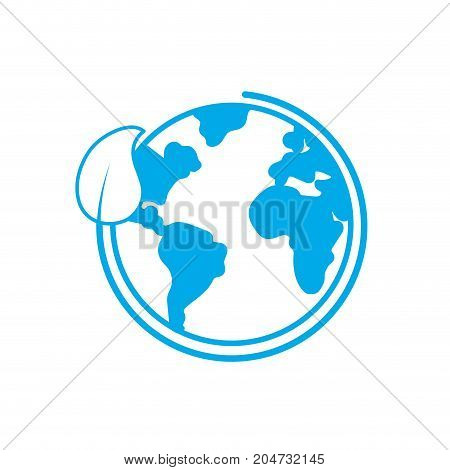 silhouette earth planet with ecological leaf design vector illustration