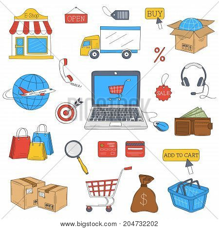 E-commerce and online shopping hand drawn doodle icons set, vector illustration. Shopping, delivery and customer support symbols, headphones, laptop, e-shop, shopping cart