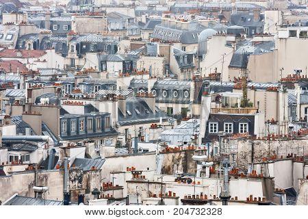 View to Paris roofs from Cathedrale Notre-Dame de Paris. France.