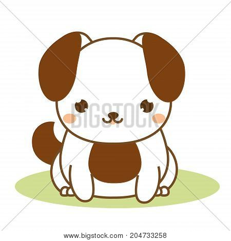 Cute puppy. Kawaii style. Dog sitting. Cartoon animal character for kids toddlers and babies fashion. Vector illustration