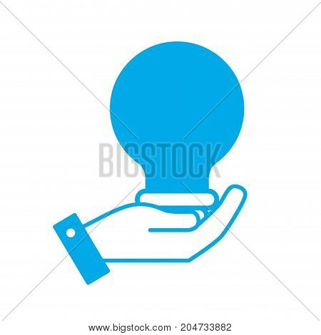 silhouette hand with bulb energy design vector illustration