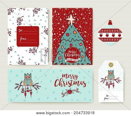 Christmas Tree Cartoon Holiday Greeting Card Set