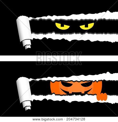 Horizontal halloween banners with torn rolled paper stripes and spooky eyes looking out. Holiday greetings elements