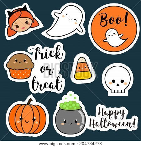 Halloween stickers patches badges. Cute pumpkin ghosts kids and other holiday symbols in kawaii style. Design elements for children party invitations scrapbook and etc