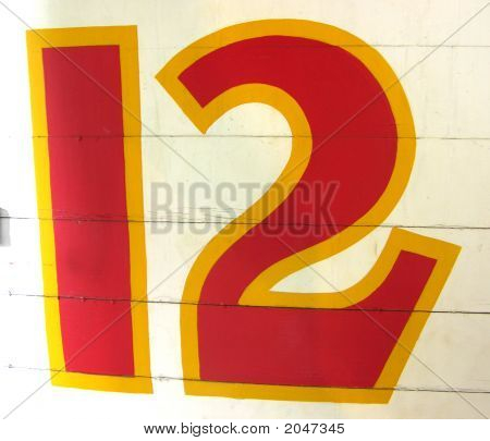Hand Painted Number Twelve 12 On Wood
