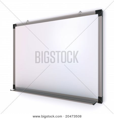 White magnetic board on the wall