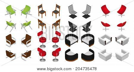 Isometric chair and armchair set. Vector furniture