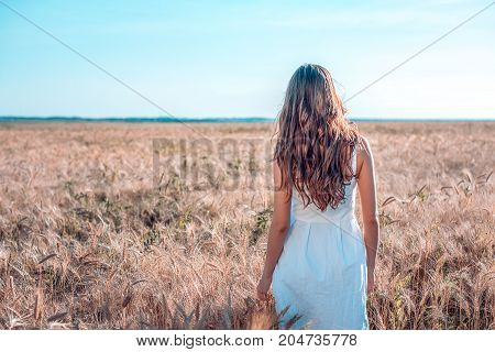 The girl in summer in a wheat field, in a white dress, tanned skin, goes to the field, happy on vacation in the fresh air. A sunny day. The concept of harmony. It is back.