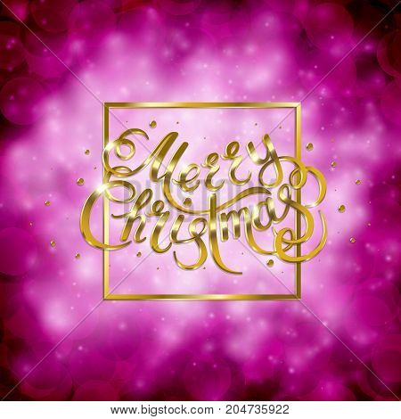 Golden text on pink background. Merry Christmas and Happy New Year lettering for invitation and greeting card, prints and posters. Hand drawn inscription, calligraphic design. Vector illustration