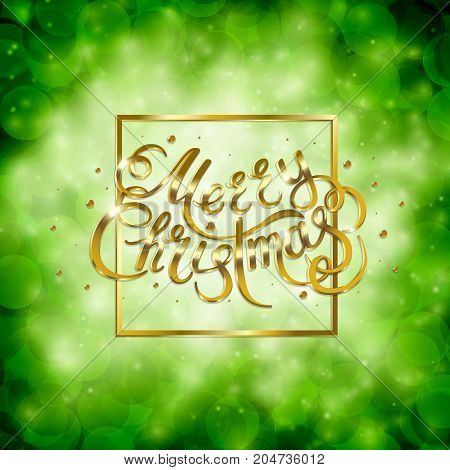 Golden text on green background. Merry Christmas and Happy New Year lettering for invitation and greeting card, prints and posters. Hand drawn inscription, calligraphic design. Vector illustration
