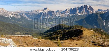 View of Cristallo gruppe near Cortina d Ampezzo Alps Dolomites mountains Italy