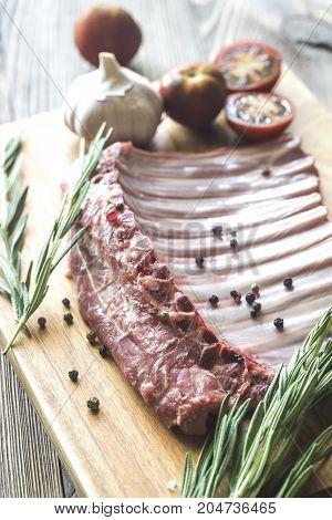 Raw Lamb Ribs With Fresh Rosemary