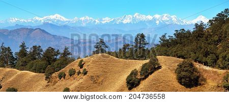 Mountain panoramic view of great himalayan ridge Everest area and Rolwaling area Nepal