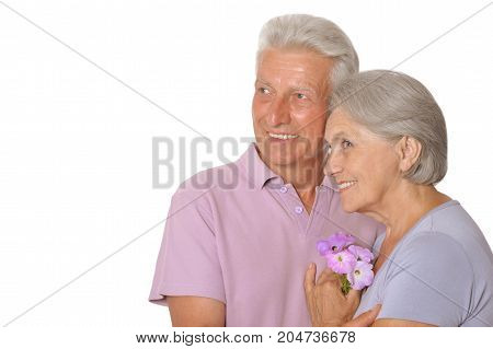 Portrait of  senior couple looking away  isolated on white background