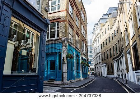 Beautiful colorful deserted street scene in London England.
