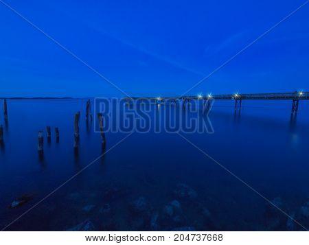 Seawalk in Sidney Vancouver Island British Columbia; fishing pier at night