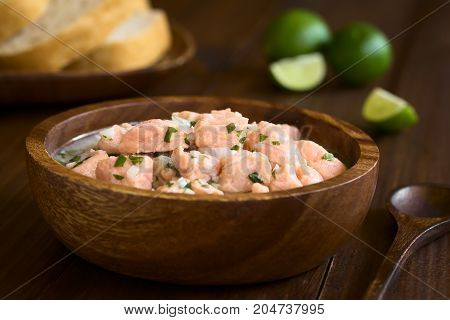 Chilean salmon ceviche prepared with onion garlic fresh coriander salt and lemon juice photographed with natural light (Selective Focus Focus on the salmon pieces on the top of the ceviche)