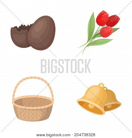 Chocolate egg, bells, basket and flowers.Easter set collection icons in cartoon style vector symbol stock illustration .