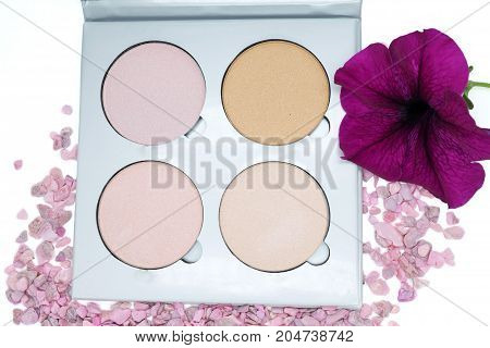 the highlighter is a different tone to the skin for applying makeup of a person, concept cosmetics