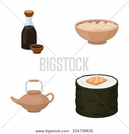 Soy sauce, noodles, kettle.rolls.Sushi set collection icons in cartoon style vector symbol stock illustration .