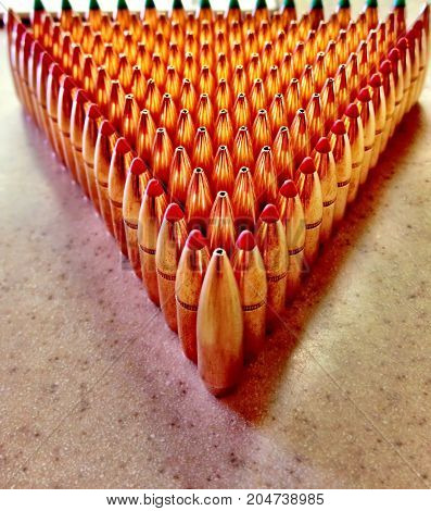 Bullets graphics displayed in line on a table.