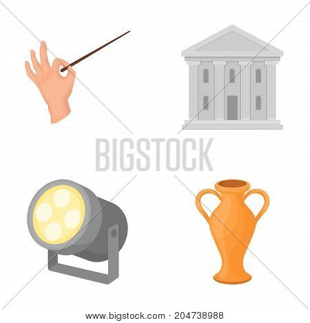 Conductor's baton, theater building, searchlight, amphora.Theatre set collection icons in cartoon style vector symbol stock illustration .
