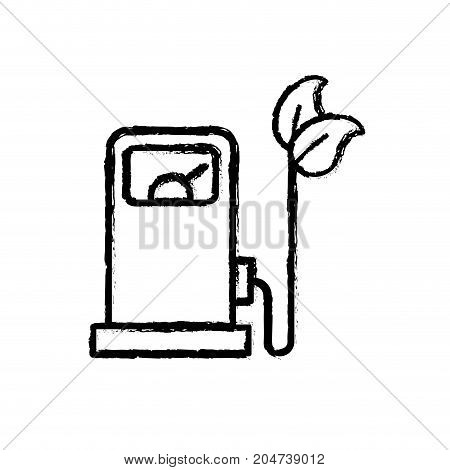 figure gas machine and cable with leaves to environment care vector illustration