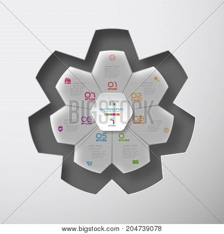 Vector infographic of hexagon form and gray convex with 7 rays shape cut from paper placed to the star-shaped neckline with shadows on the gradient background.