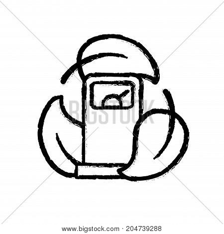 figure gas machine with ecological leaves around vector illustration