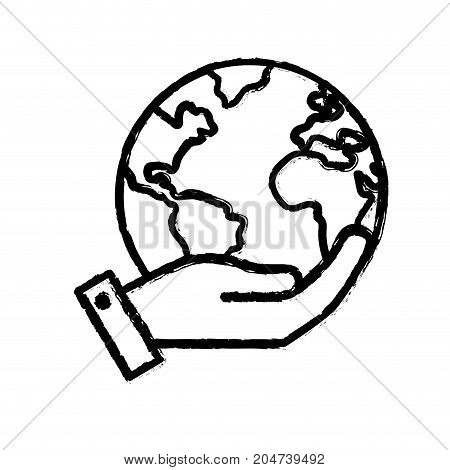 figure hand with earth planet and natural ecology vector illustration