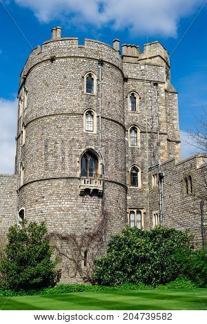 Windsor, England, April 2017: View of one of the towers inside Windsor Castle Berkshire county England