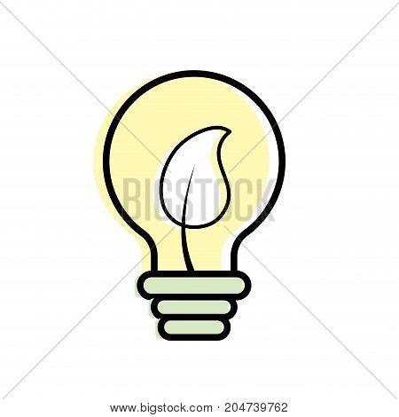 bulb with leaf inside to ecological symbol vector illustration