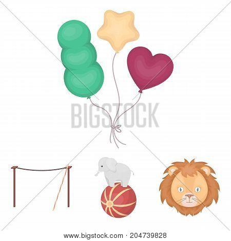 Elephant on the ball, circus lion, crossbeam, balls.Circus set collection icons in cartoon style vector symbol stock illustration .