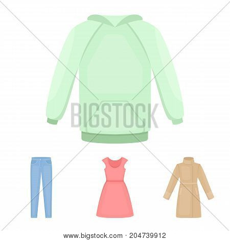 Dress with short sleeves, trousers, coats, raglan.Clothing set collection icons in cartoon style vector symbol stock illustration .