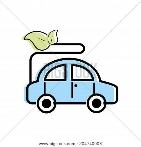 ecologycal car with leaves to environment care vector illustration