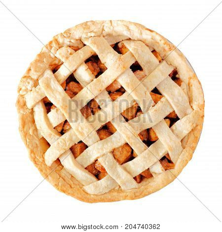 Homemade Apple Pie With Lattice Pastry Isolated On A White Background, Above View