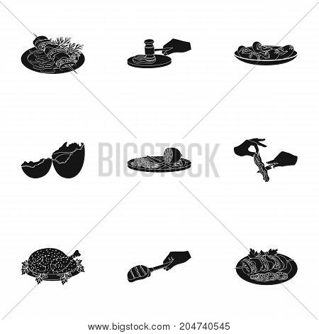 Fried chicken, cooking chop, slicing vegetables, shish kebab and other elements of cooking. Food and Cooking set collection icons in black style vector symbol stock illustration .