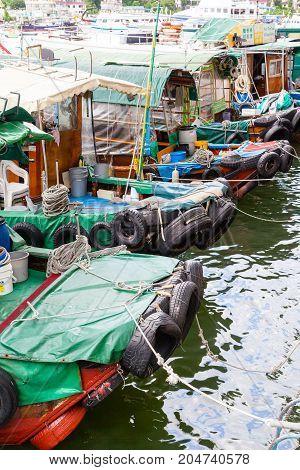 Fishing Boats At Sai Kung Village In Hong Kong