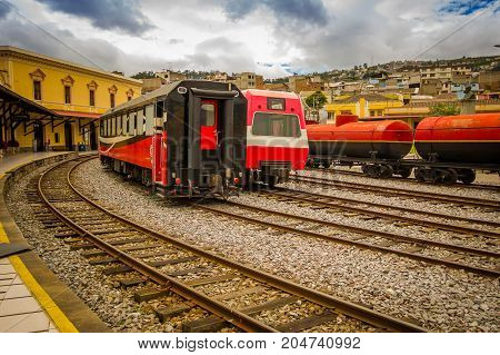 QUITO, ECUADOR AUGUST 20 2017: Beautiful Ecuadorian steam colomotive in chinbacalle trains museum, located in the city of Quito, Ecuador.